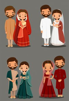 Cute Indian Couple Cartoon In Traditional Dress For Wedding Invitation Card Design Wedding Couple Cartoon, Indian Wedding Couple, Cute Couple Cartoon, Cute Love Cartoons, Indian Wedding Invitation Cards, Wedding Invitation Card Design, Indian Wedding Cards, Wedding Card Design, Invites