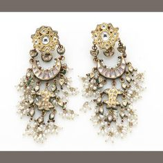 A pair of enamel, freshwater cultured pearl, diamond simulant, heavy high-karat gold plate and 14k gold earclips
