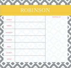 Get organized with our Weekly Grocery List Planner- Dry Erase Board by LoveyDoveyCreations
