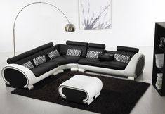 Black and White Sectional Leather Sofa for Modern Living Room