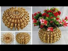 Hello friends, use waste newspaper to make this unique and beautiful flower vase and decorate your home.The process of making this craft is very easy. Diy Home Crafts, Diy Arts And Crafts, Creative Crafts, Crafts To Make, Crafts For Kids, Origami 3d, Paper Crafts Origami, Cardboard Crafts, Paper Beads Tutorial
