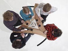 Mesa alta en acero inoxidable y madera ABACHUS by Extremis   diseño Dirk Wynants