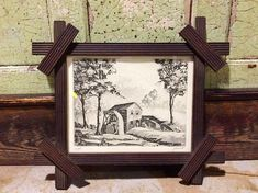 Antique Water Mill Etching in Eastlake Wood Frame, Arts and Crafts Era, Hand Forged Rectangular Nails Vintage Wall Art, Vintage Walls, Vintage Prints, Water Mill, Painting Frames, Wall Art Decor, Arts And Crafts, Carving, Antiques