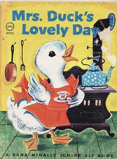 Duck´s lovely day, Story and Illustrations by Vivienne Blake Copyright, Rand McNally Elf Book, 1955 Old Children's Books, Vintage Children's Books, Good Books, Vintage Kids, Retro Vintage, Little Golden Books, Little Books, Books For Teens, Kawaii