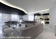 black-white pop ceiling design in living room