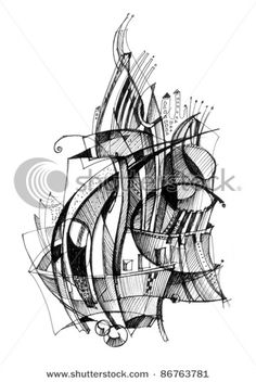 Picture of Abstract drawing black ink with unusual spiral structure stock photo, images and stock photography. Abstract Sketches, Abstract Line Art, Motifs Organiques, Ink Pen Art, Animal Doodles, Tangle Art, Sharpie Art, Still Life Art, Geometric Lines