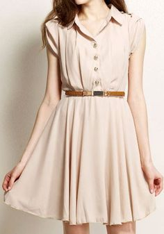 Single Breasted Belted Dress - Neutral Pink...lookbookstore