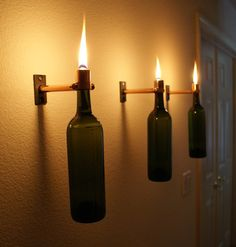 Set of 3 Copper INDOOR Green Wine Bottle Oil Lamps by IlluminusCreations, $55.00