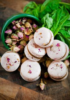 Rose and Basil Dark Chocolate Macarons * Shell - crushed rose petals, pink food colouring * Filling - fresh basil leaves, chocolate ganache