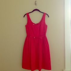 Pink Donna Morgan Dress from Modcloth Pink scoop neck, sleeveless, fit and flare style, with belt, lined. Has pockets!! Would be perfect for graduation or baby/wedding shower! Some wear on underarms from wearing it to my graduation. Happy to bundle! Donna Morgan Dresses