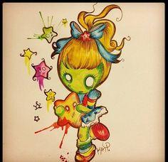 Zombie Brite by MoonlitArtShop Cute Zombie, Zombie Art, Boss Tattoo, Voodoo Doll Tattoo, Zombie Tattoos, Bright Tattoos, Doll Drawing, Doodle Characters, Wonderland Tattoo