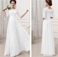 Women's Lace Chiffon Long Maxi Evening Cocktail Fashion Party Wedding Dress