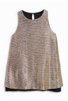 Buy Metallic Layer Top online today at Next: Israel Latest Fashion For Women, Womens Fashion, Fashion Trends, Stylish Tops, Great Legs, Layered Tops, Peasant Tops, Summer Tops, Clothing Items