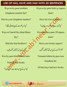 50 English Sentences Using Has, Have and Had in Urdu Basic English Sentences, English Grammar Tenses, English Language Learners, English Vocabulary Words, English Phrases, English Tips, English Book, English Study, Learn English
