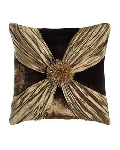 "Gatsby Velvet Pillow with Crushed Silk Wrap, 20""Sq., Moss (Brown/Gold) - Dian Austin Couture Home"