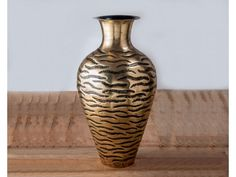Zebra Patterned Brass Antique Vase