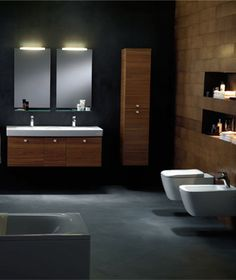 modern light brown veneer plywood floating vanity for bathroom with double white ceramic undermount sink under frameless wall mirror with lights. Magnificent Double Washstand Vanity for Bathroom Interior Design Tall Wall Mirrors, Oversized Wall Mirrors, Wall Mirrors Entryway, Black Wall Mirror, Lighted Wall Mirror, Rustic Wall Mirrors, Round Wall Mirror, Mirror Bedroom, Mirror Set
