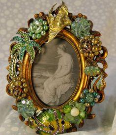 Jeweled Picture Frame Vintage Jewelry by ItsAShoreThingStudio