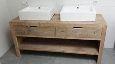 Idee badkamermeubel (in teak ipv steigerhout)
