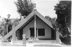 From the Kay Taylor Photo Album. Polynesian People, Model Village, Maori Art, Historical Images, Local History, Kiwi, Carving, Album, House Styles
