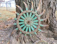 "Antique Vintage Cast Iron 20"" JD Rotary Hoe Wheel Gear Great Rustic Garden Art!!"
