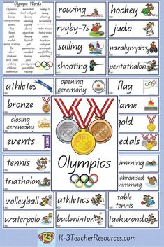 47 x Olympics Vocabulary Words and Pictures. Ideal for word play and writing reference.
