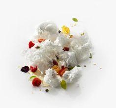 Ewe's Milk Ice Cream With Textured Herb Buds | Mugaritz. Good plate.