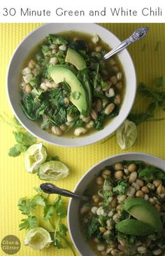 Green and white chili is a nice change from more common red chili, and it's a cinch to make!