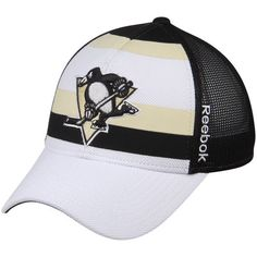 Pittsburgh Penguins Reebok Face Off Trucker Hat - White Black db8df6fb75ab