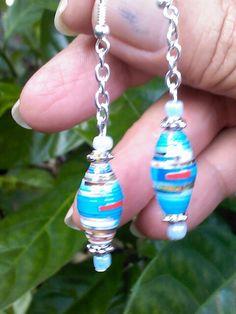 Paper beads earrings...by Miriam Rivera...