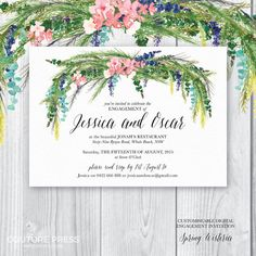 The Spring Wisteria Engagement Invitation from Couture Press features a gorgeous watercolour image paired with a whimsical modern calligraphy font and a classic serif font.  _ _ _ _ _ _ _ _ _ _ _ _ _ _ _ _ _ _ _ _ _ _ _ _ _ _ _ _ _ _ _ _ _ _ _ _ _ _ _ _ _ _  THE LISTING INCLUDES  Type: Engagement Invitation Size: A6 105mm x 148mm (fits C6 envelope) Delivery: This listing is for the digital files only. The final pdf file will be emailed via Etsy. No physical item will be sent. Printing: If…