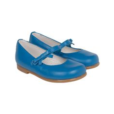 Classic Leather Bow Baby Blue Mary Janes