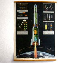 Stunning RARE Rocket Poster from East Germany 1963. €260.00, via Etsy.