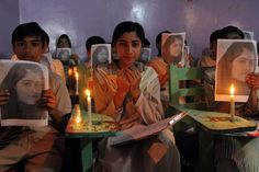 Oct. 12, 2012. Private school students pray for the good health of Malala Yousafzai in Karachi. Malala, who has been honored by the government with the National Peace Award, was injured along with two other girls when Taliban gunmen shot her while she was on her way home from school.