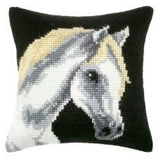 Orchidea Grey Horse Pillow Cover Needlepoint Kit for sale online Cross Stitch Designs, Cross Stitch Patterns, Cross Stitch Cushion, Crochet Horse, Horse Crafts, Needlepoint Kits, Cross Stitch Animals, Animal Pillows, Stuffed Animal Patterns