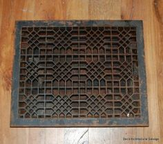 Register cover to hide air conditioner. This one is x Spray paint air conditioner black. Floor Register Covers, Air Conditioner Cover, Architectural Salvage, Flipping, Cast Iron, Vintage, Architecture, Antiques, House