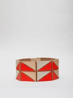 Pattern Bangle. Painted leather bangle with hand-cut triangle pattern. $120 possible #diy