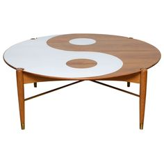 Yin and Yang Mid-Century Modern Round Walnut Swedish Coffee Table | 1stdibs.com