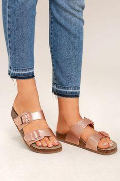 Madden Girl Brando-P - Rose Gold Slides - Buckled Slides - Slide Sandals - $39.00