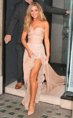 I love this dress! I bet it would look good in white and the lace with that soft pink nude color!