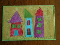 Houses Fabric Postcard
