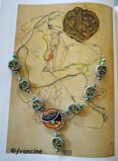 FRANCINE BRICOLE : Collier perles multicolores en pâte FIMO et grosse...