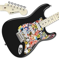 Pegatina guitarra Sticker Bomb interior #decoracion #guitarra #electrica #fender #stratocaster #vinilo #pegatina