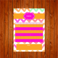 The product Pink and Orange Behavior/Chore Chart is sold by Personally Graphic in our Tictail store.  Tictail lets you create a beautiful online store for free - tictail.com