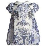 Baby Girls Blue Floral Silk Bubble Dress