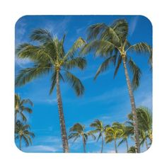 Island Breeze Hard Plastic Coasters w/ cork back. #coasters #Hawaii #trees