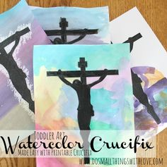 Great toddler art for Lent/Holy Week. Use the free printable to make the project super easy, and just as meaningful.