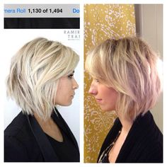 Inspiration. Finished product. Layered, textured bob with side bangs and dimensional highlights.