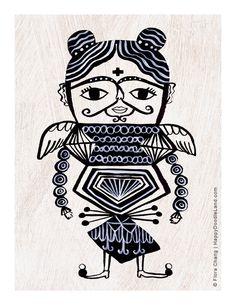 Guardian Angel B/W  8.5 x 11 Print by HappyDoodleLand on Etsy, $20.00