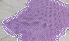 Purple Crochet Baby Blanket with White Trim by RavelRight on Etsy, $30.00